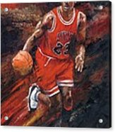 Michael Jordan Chicago Bulls Basketball Legend Acrylic Print by Christiaan Bekker