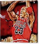 Michael Jordan Oil Painting Acrylic Print by Dan Troyer