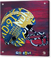 Michigan Wolverines College Football Helmet Vintage License Plate Art Acrylic Print by Design Turnpike