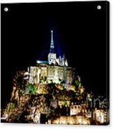 Midnight Mont Saint Michel Acrylic Print by Olivier Le Queinec