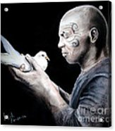 Mike Tyson And Pigeon Acrylic Print by Jim Fitzpatrick