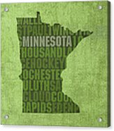 Minnesota Word Art State Map On Canvas Acrylic Print by Design Turnpike
