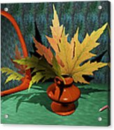 Mirror And Leaves Acrylic Print by Anastasiya Malakhova