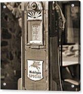 Mobilgas Special - Wayne Pump - Sepia Acrylic Print by Mike McGlothlen