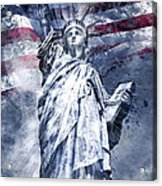 Modern Art Statue Of Liberty Blue Acrylic Print by Melanie Viola