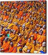 Monk Mass Alms Giving In Bangkok Acrylic Print by Fototrav Print