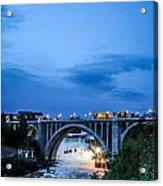 Monroe St Bridge At Sunset Acrylic Print by Daniel Baumer