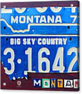 Montana License Plate Map Acrylic Print by Design Turnpike