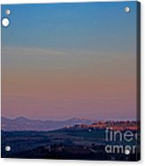 Moon Hanging Over Montepulciano, Italy Acrylic Print by Tim Holt