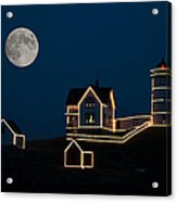 Moon Over Cape Neddick Acrylic Print by Guy Whiteley