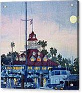 Moon Over Coronado Boathouse Acrylic Print by Mary Helmreich