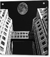 Moon Over Twin Towers Acrylic Print by Samuel Sheats