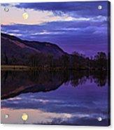Moon Rising Over Loch Ard Acrylic Print by John Farnan