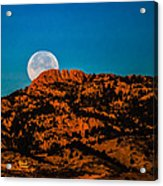 Moon Setting Behind Horsetooth Rock At Sunrise Acrylic Print by Harry Strharsky