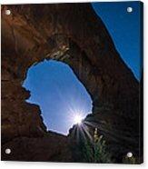 Moon Through Arches Windows Acrylic Print by Michael J Bauer