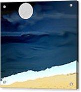 Moonlight Walk At Low Tide Acrylic Print by Kae Cheatham