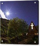 Moonrise Chapel Acrylic Print by Aaron S Bedell