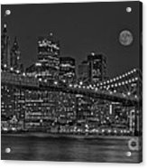Moonrise Over The Brooklyn Bridge Bw Acrylic Print by Susan Candelario