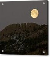 Moonset Over Horsetooth Acrylic Print by Rich Ernst