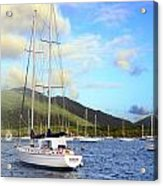 Moored To Relax Acrylic Print by Michael Glenn