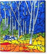 Mosaic Stained Glass - My Woods Acrylic Print by Catherine Van Der Woerd