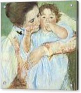 Mother And Child Against A Green Background Acrylic Print by Mary Cassatt