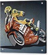 Motorbike Racing Grunge Color Acrylic Print by Frank Ramspott