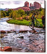 Mountain Bikers Crossing Cathedral Falls Acrylic Print by Linda Pulvermacher