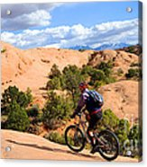 Mountain Biking Moab Slickrock Trail - Utah Acrylic Print by Gary Whitton