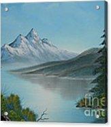 Mountain Lake Painting A La Bob Ross Acrylic Print by Bruno Santoro