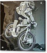 Mountainbike Sports Action Grunge Monochrome Acrylic Print by Frank Ramspott