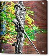 Mountaineer Statue Acrylic Print by Dan Friend
