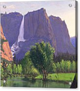 Mountains Waterfall Stream Western Mountain Landscape Oil Painting Acrylic Print by Walt Curlee