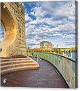 Mr Rogers Statue In Pittsburgh Acrylic Print by Emmanuel Panagiotakis