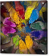 Multicoloured Hands Acrylic Print by Tim Gainey