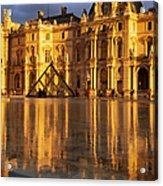 Musee Du Louvre Sunset Acrylic Print by Brian Jannsen