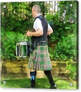Music - Drummer In Pipe Band Acrylic Print by Susan Savad