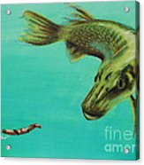 Muskie And The Lure Acrylic Print by Jeanne Fischer
