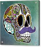 Mustache Sugar Skull Acrylic Print by Tammy Wetzel
