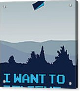 My I Want To Believe Minimal Poster- Tardis Acrylic Print by Chungkong Art
