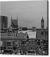 Nashville Skyline In Black And White Acrylic Print by Dan Sproul
