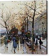Near The Louvre Paris Acrylic Print by Eugene Galien-Laloue