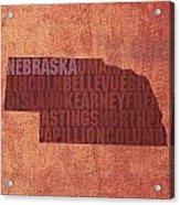 Nebraska Word Art State Map On Canvas Acrylic Print by Design Turnpike