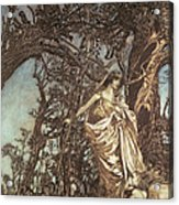 Never So Weary Never So Woeful Illustration To A Midsummer Night S Dream Acrylic Print by Arthur Rackham