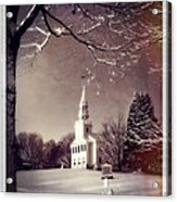 New England Winter Village Scene Acrylic Print by Thomas Schoeller