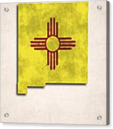 New Mexico Map Art With Flag Design Acrylic Print by World Art Prints And Designs