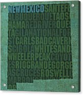 New Mexico Word Art State Map On Canvas Acrylic Print by Design Turnpike