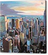 New York City - Manhattan Skyline In Warm Sunlight Acrylic Print by M Bleichner