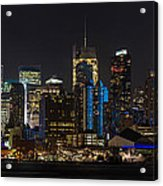 New York In Blue Acrylic Print by Mike Reid
