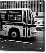 New York Mta City Bus Speeding Along 34th Street Usa Acrylic Print by Joe Fox